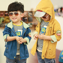 Free delivery youngsters's clothes spring/autumn boy 100% cotton leisure cool trench outerwear boy cotton-padded coat