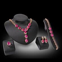 Cindiry Colar Anel Pulseira Brincos Conjuntos de Jóias Para As Mulheres de Noiva Vermelho/Rosa de Cristal Acessórios Vestido de Noiva