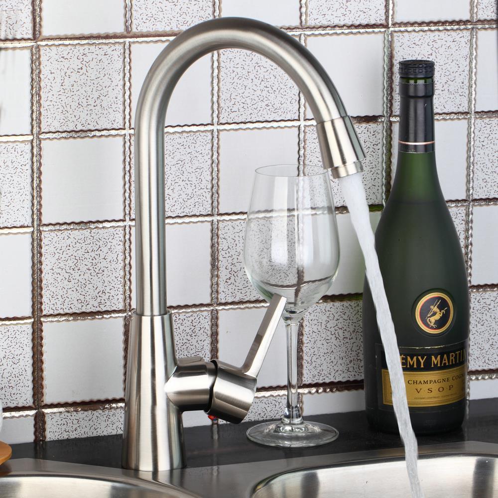 BEST Kitchen Vessel Sink Nickel Brushed Faucet 97196 Swivel Spout Mixer Tap Faucet Single Hole Taps