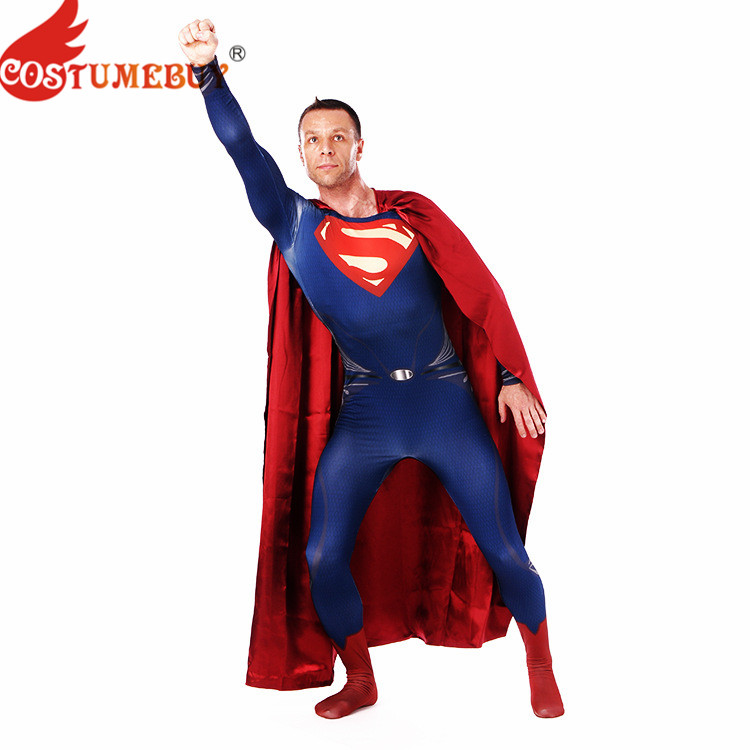 CostumeBuy Justice League Superman Cosplay Costume Tight Jumpsuits Men Superhero Event Party Zentai Suit with Cape S-XXXL