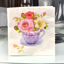 1 pack=20pcs Floral Flower theme Paper Napkins Food Festive Party Tissue Napkins Decoupage Glass Decoration 20pcs paper napkins for decoupage kleenex tableware tissues diy craft decoration