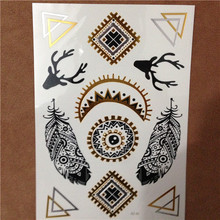 Free Shopping Gold Silver Flash Temporary Tattoos Metallic Sticker Tattoo Body Art Removable For Women