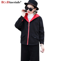Spring Autumn Jackets For Women 2018 New Classic Simple Casual Hooded Zipper Short Outwear Female Fashion Stitching Coats JK050