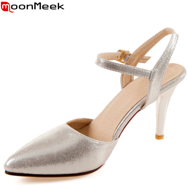 MoonMeek  fashion new arrive women pumps pointed toe buckle ladies summer high heels shoes elegant ladies prom shoes memunia flock pointed toe ladies summer high heels shoes fashion buckle color mixing women pumps elegant lady prom shoes