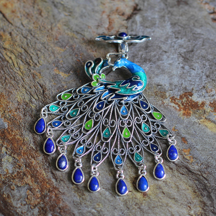 [character silver goods] S925 sterling silver jewelry national wind lady Cloisonne lapis lazuli Malachite Pendant[character silver goods] S925 sterling silver jewelry national wind lady Cloisonne lapis lazuli Malachite Pendant