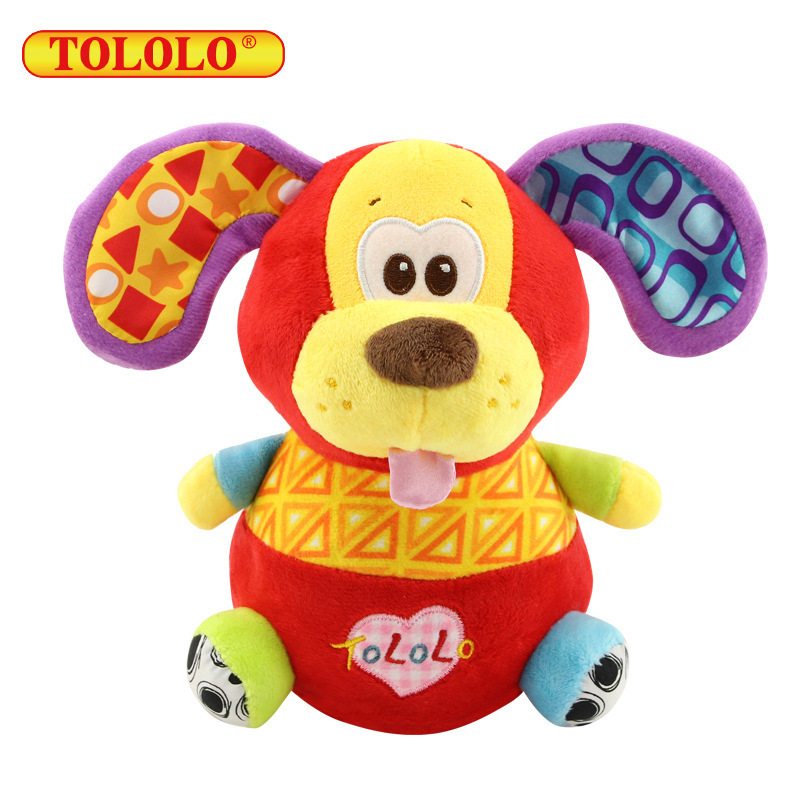 High Quality Kids Tumbler Sound Educational Plush Toys Monkey Puppy Giraffe Lion with Sound Paper Baby Christmas Gift