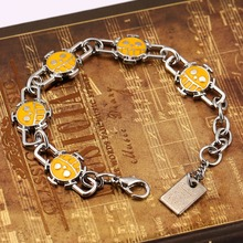 one piece bracelet yellow&black  Smile Face Bracelets  Trafalgar Law metal bangles movie bracelet