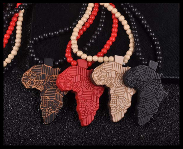 Three color fashion design man map of africa map charm hip hop three color fashion design man map of africa map charm hip hop pendant necklace wood jewelry mozeypictures Choice Image