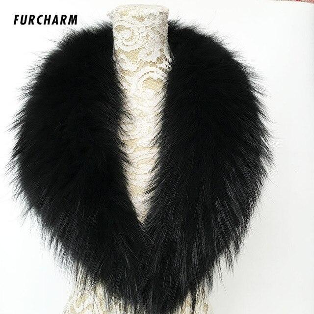 100% Real Rraccoon Fur Collar Scarf Genuine Big Size Scarves Warp Shawl Neck Warmer Stole Muffler 80cm/90cm/100cm