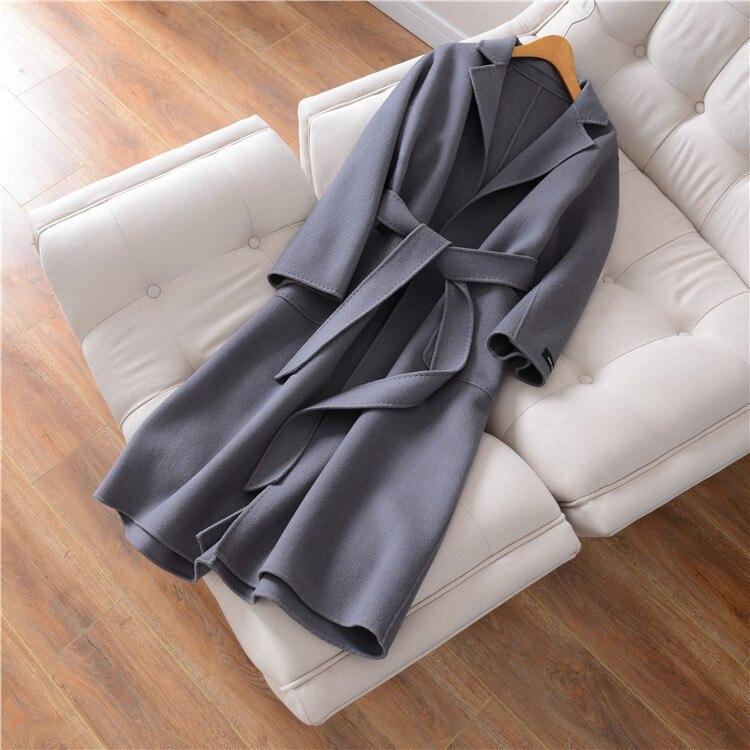 Eupope New Sided Handmade Lapel Lacing Belt Color sólido lana abrigo mujer abrigo 2017 otoño e invierno abrigo Mujer - 6
