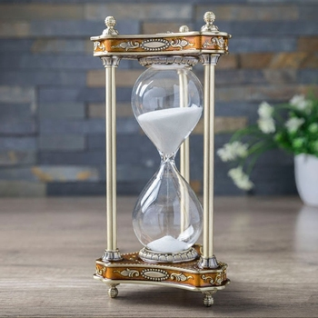H13cm hourglass Spinning sand timer of the metal hourglass 30 min Turning Hourglass sand timer Hourglass for home decoatio A07-3 фото