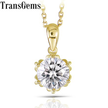 Transgems 18K Yellow Gold 1CTW 6.5mm F Color Moissanite Flower Shaped Pendant Necklace with Yellow Gold Chain for Women цена 2017