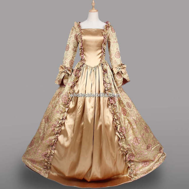 New 18th century period dress champagne satin long for Period style wedding dresses