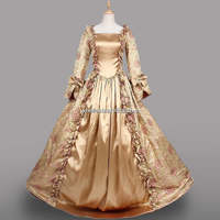 New 18th Century Period Dress Champagne Satin Long Halloween Costume