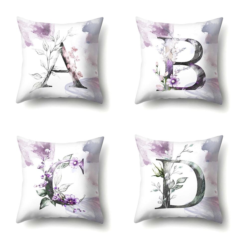 a Nordic Violet Letters Cushion Cover Printed Flowers Throw Pillow Covers Decorative Purple Farmhouse Decor Plants Home Decoration