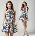 Summer dress women 2015 New vestidos 3D digital printing butterfly flower sleeveless casual women dress