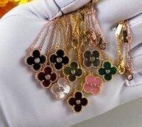 Четыре листа клевера ожерелье женщина чистого серебра 925 цвета розового золота ожерелье