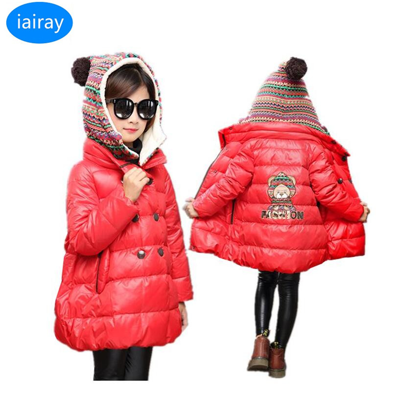 iairay children's winter jackets girls red long parka jacket kids fashion yellow hooded coat detachable cap cute thick outerwear syoss