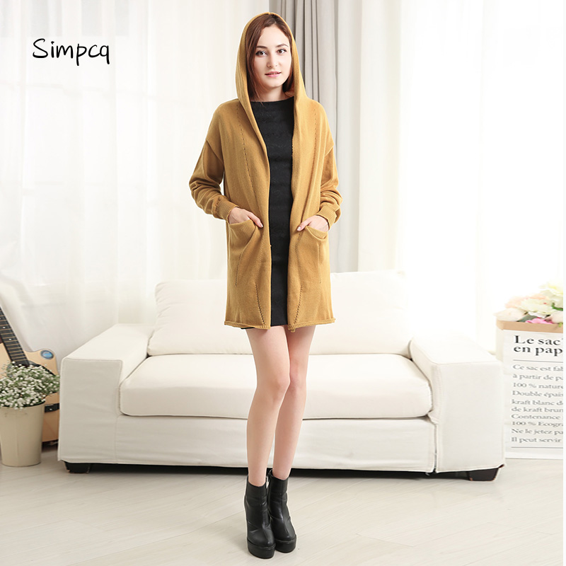 Charm Women Sweater cardigan Winter Fashion Regular Sleeve Loose Solid Color Coat Women Casual Long Hooded sweater Open Stitch