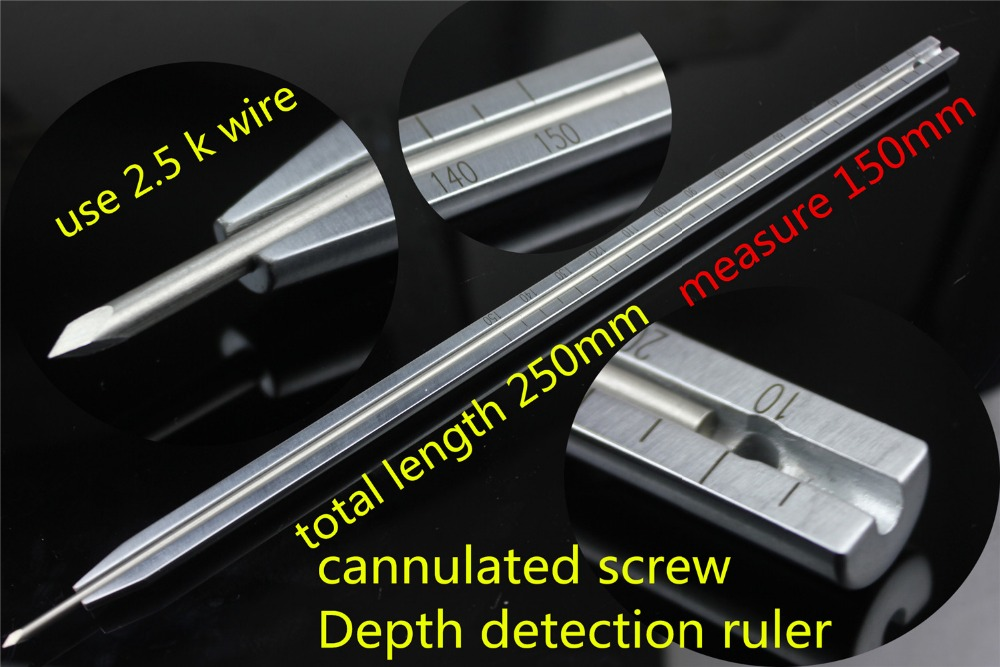 medical orthopedic instrument cannulated screw Depth detection ruler DHS DCS lag screw sounder Depth detector Measuring device medical orthopedic instrument set pet veterinary 1 40kg dog cat small animal all instrument vet implant bone plate screw install