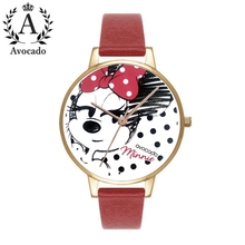 Avocado new Minnie mouse cartoon watches kids watch for women red ladies students girl clock Stylish Christmas New Year Gift цена и фото