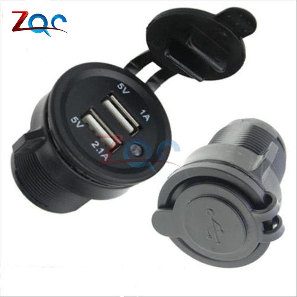 Splitter Dual USB Port Cigarette Lighter Socket Car Charger Power Adaptor 12-24V