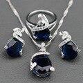 Azul Criado Sapphire Branco Cristal Conjunto de Jóias de Prata Para As Mulheres Brincos/Pingente/Colar de Corrente/Anel Livre Caixa de jóias