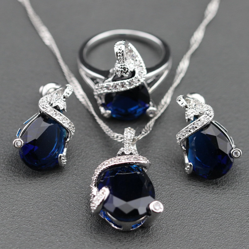 Blue Created Sapphire White Crystal Sterling Silver