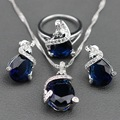 Blue Created Sapphire White Crystal Sterling Silver Jewelry Set For Women Earrings/Pendant/Necklace Chain/Ring Free Jewelry Box