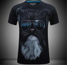 5XL 6XL men's T-shirts 3D Glasses Cat Print Short-sleeved Round Neck T-shirts for Men Fashion Styling Brand Clothing blue round neck random print t shirts