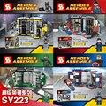 4 pçs/set super hero batman homem de ferro super homem base de bloco de construção de brinquedos para as crianças de aniversário figuras bonecas