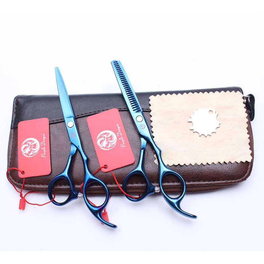 """Z1005 5,5 """"púrpura Dragón Azul profesional tijeras de corte de peluquería tijeras de adelgazamiento herramienta de estilismo de belleza tijeras de cabello humano"""