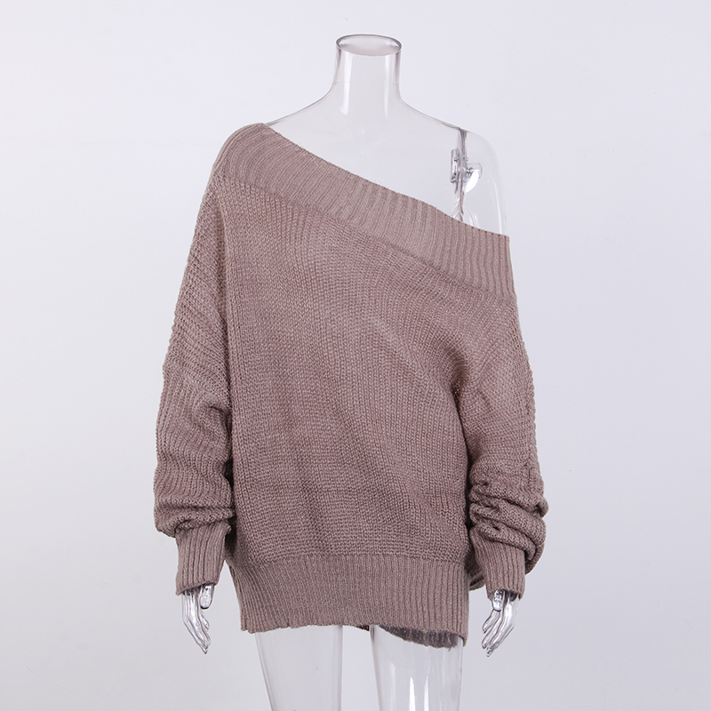 Winter Loose Knitted Sweater Women Sexy Off Shoulder Pullover Sweater Loose Tops Knitwear Pull Femme Jumper Plus Size WS2349T