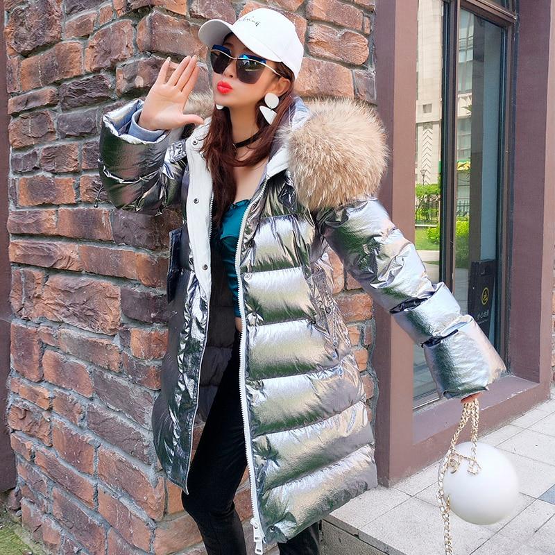 Veste Parka Le Mode Raton Chaud 3 Femmes Vers 2 1 2018 Argent Laveur Nouvelle Slim Fourrure Manteau Réel Vestes Long D'hiver Bas De Capuchon À z5qH1w
