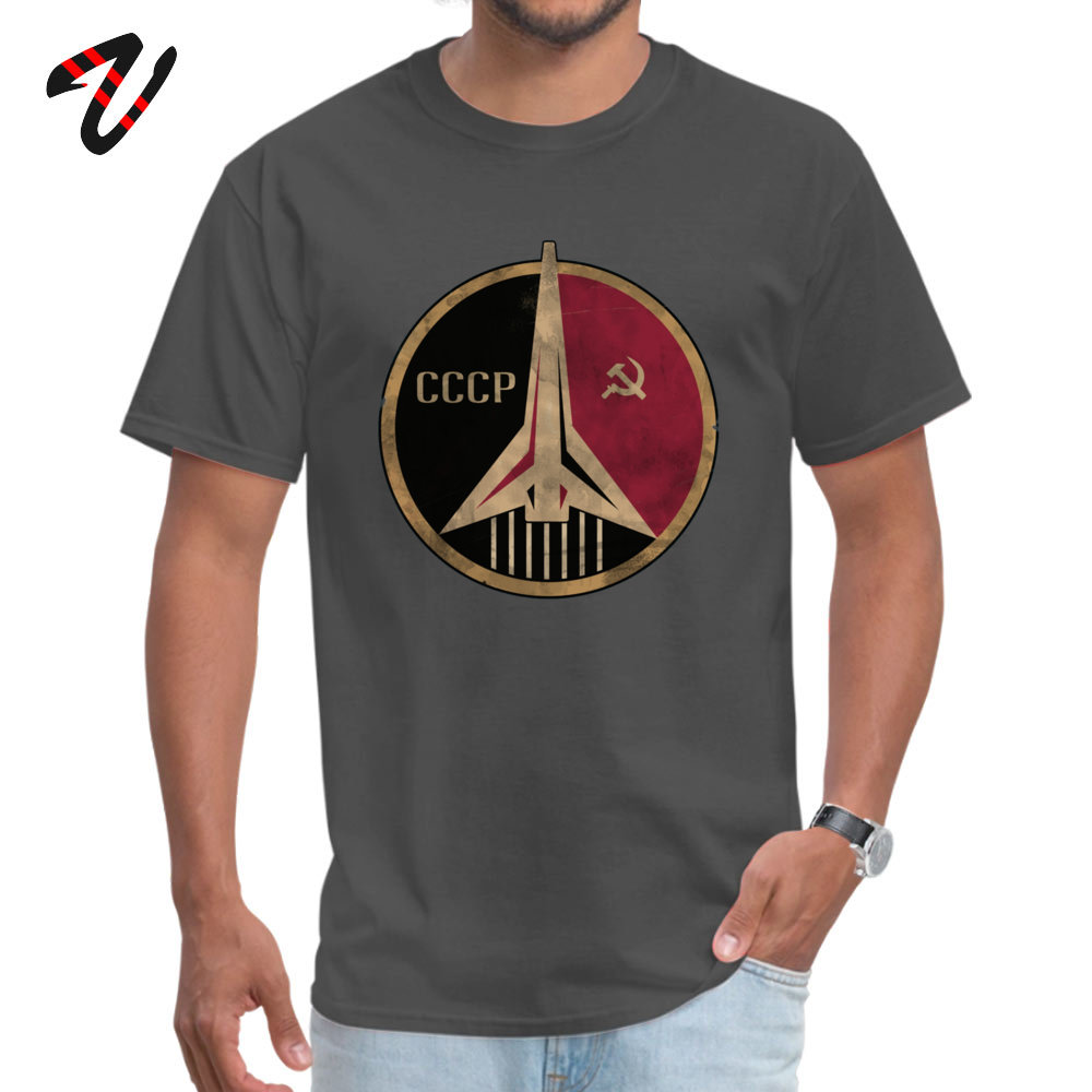 Crazy Short Sleeve Tops & Tees NEW YEAR DAY Round Neck Pure Cotton Men's Tshirts Simple Style Crazy T Shirt Fashionable Soviet Union propaganda poster space 10804 carbon