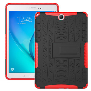 Image 2 - Hybrid Stand Hard Silicone Rubber Armor Case For Samsung Galaxy Tab A 9.7 T555 T550 SM T555 SM P550 Anti knock Cover+film+pen