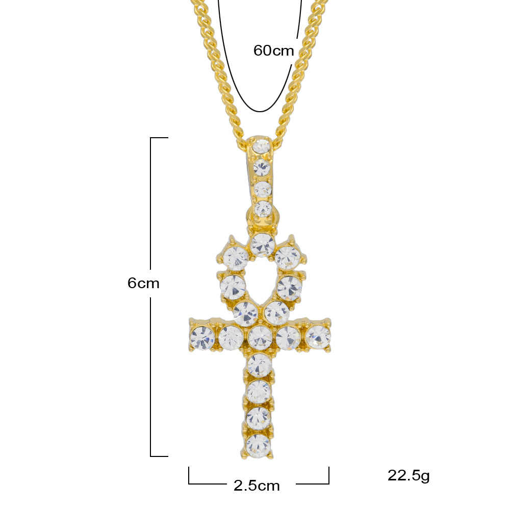 Gold Silver Ankh Egyptian Pendants Men Women Rhinestones Hip Hop Chains bling Keys To Life Egypt Crossing Jewelry Necklaces