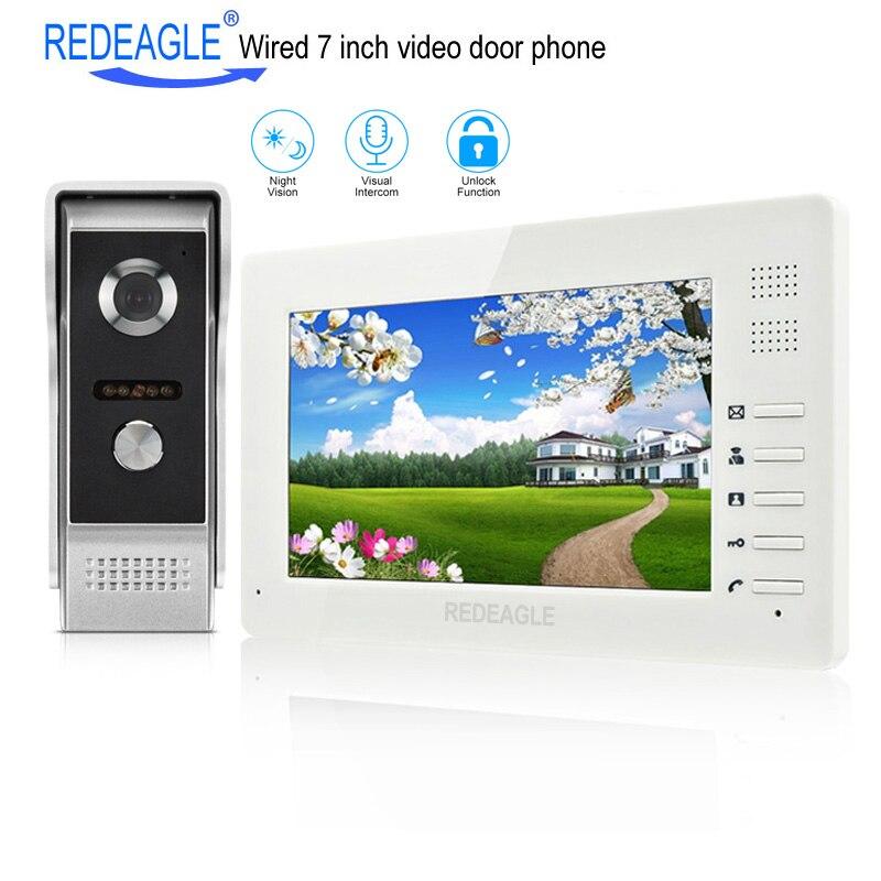REDEAGLE 7 Inch TFT LCD Video Door Phone Visual Intercom Doorbell System 1024x600 Monitor 700TVL Metal