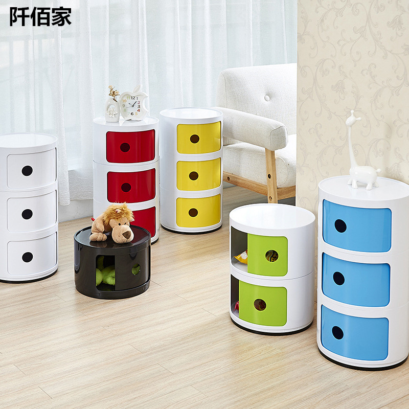 Multifunctional ABS Circular Ark Combination Bin Large Capacity Storage Box Bedside Table For Snacks Caned Drinks Toys Holder
