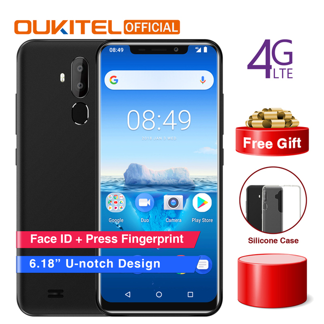 "Original OUKITEL C12 Pro 6,18 ""19:9 Android 8,1 teléfono móvil MT6739 Quad Core 2G RAM 16G ROM teléfono inteligente con huella digital 4G 3300 mAh"