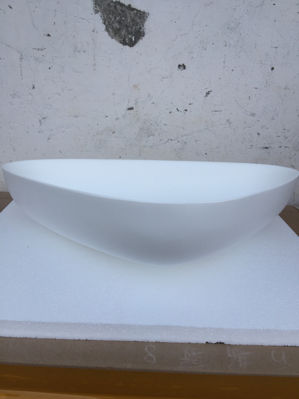 Triangular bathroom solid surface stone counter top Vessel sink ...