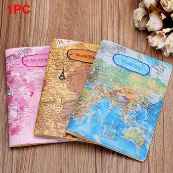 Gorąca sprzedaż mapa świata paszport podróże pokrywa pcv uchwyt paszport podróże pokrywy skrzynka marki etui na paszport dokumenty teczka na foldery tanie i dobre opinie NINEFOX Unisex World Map 10cm A1491317C 15cm Nie zamek Moda Karta kredytowa