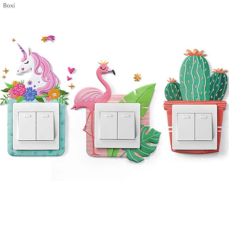 Boxi لطيف الحيوان يونيكورن فلامنغو مفتاح الإضاءة ملصق ثلاثية الأبعاد الكرتون الجدار ملصق غرفة الديكور مضيئة التبديل المخرج ملصق