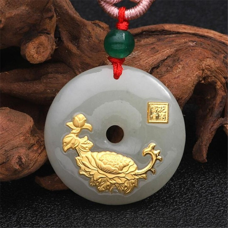 2018 New Design Jade Pendants Necklace Flower Jade Necklace For Unisex Good Quality Best gift Good Luck Religious Catholic Jade new design pig jade necklaces top quality unisex pendants for male female