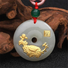 цены 2018 New Design Jade Pendants Necklace Flower Jade Necklace For Unisex Good Quality Best gift Good Luck Religious Catholic Jade