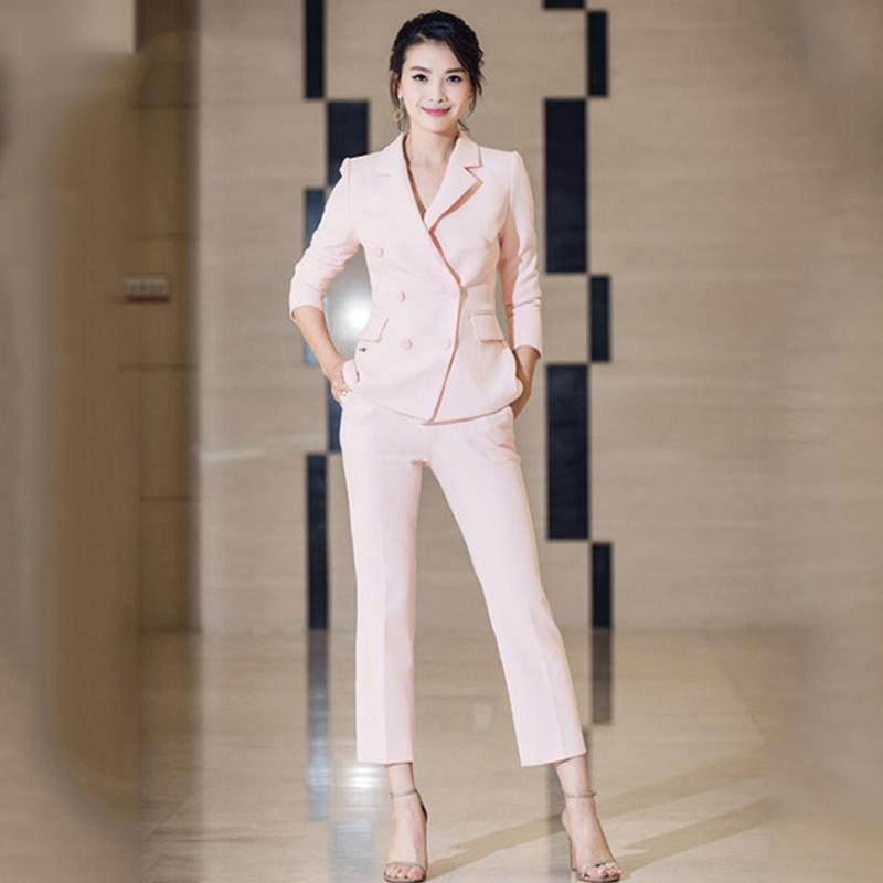 Hot Selling Popular Workwear Women Pants Suits Double Breasted Blazers Slim Pants Celebrity Bodycon Pink Twin