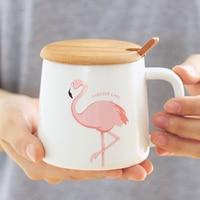 Simple pink flamingo heart art ceramic water cup girls mug lid spoon breakfast cereal with milk