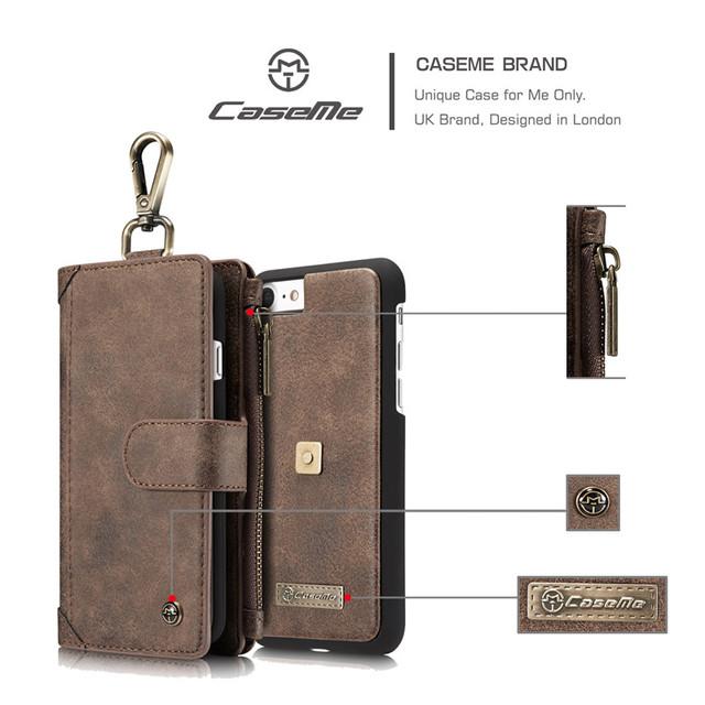 Caseme marca cartão da carteira bolsa saco do telefone capas para iphone 7 7 Plus Caso De Luxo Com Zíper Destacável 2 em 1 de Couro Da Aleta cobrir