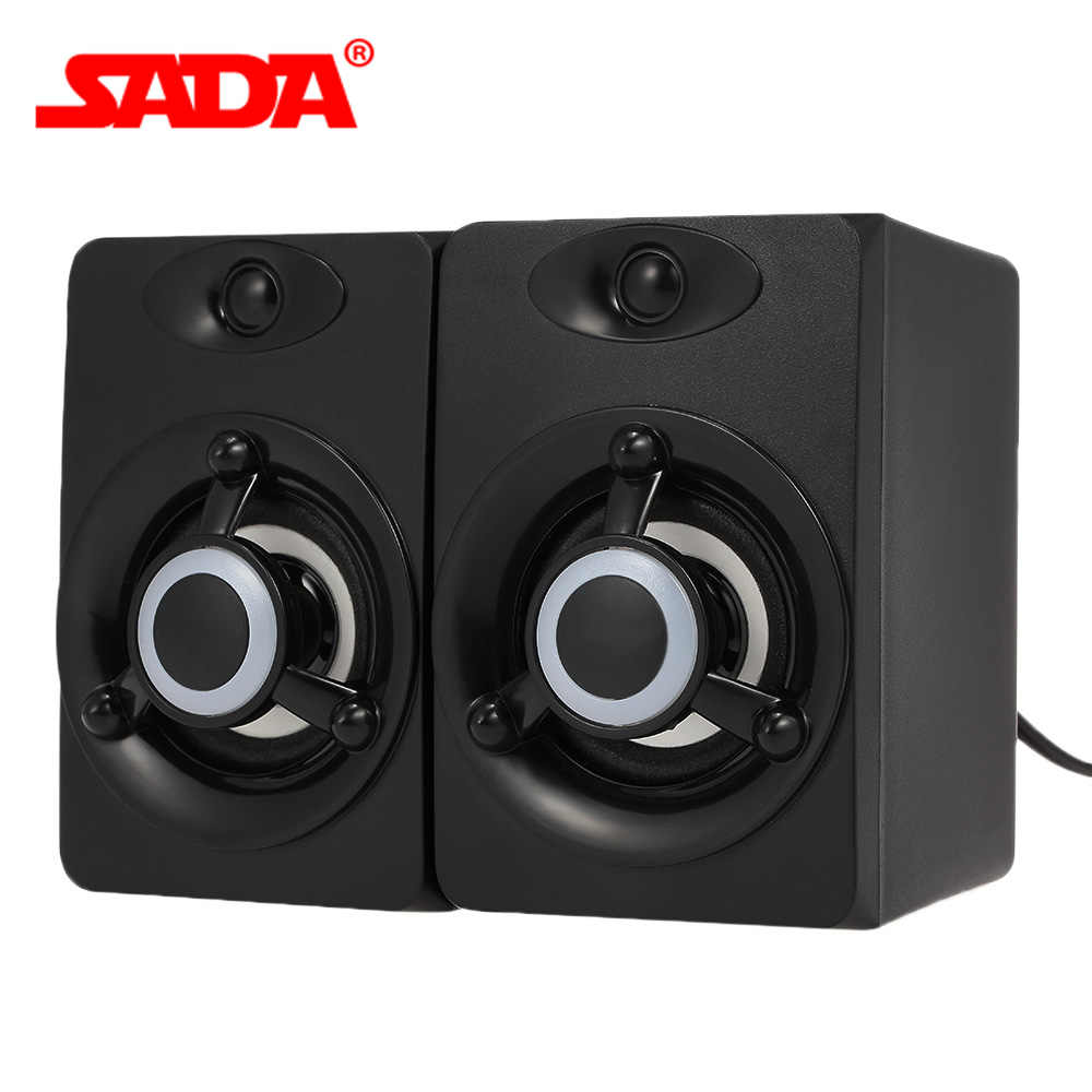 SADA V-118 USB Kabel Speaker LED Speaker Komputer Bass Stereo Musik Player Subwoofer Suara Kotak untuk Laptop Desktop PC Smart telepon
