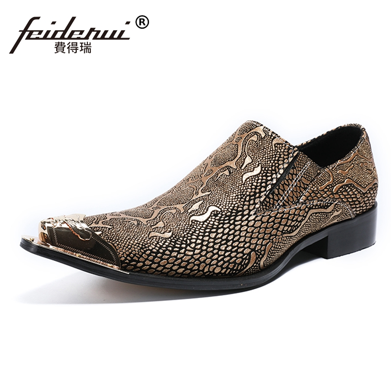 Plus Size Luxury Genuine Leather Metal Tipped Man Casual Loafers Pointed Toe Slip on Python-Patterned Men